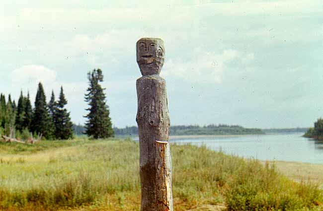 Mansi wooden headstone